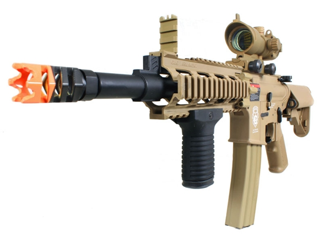 G G Gr16 Rush Electric Blow Back Airsoft Gun With Tan Red Dot Scope And Stubby Vertical Grip Package Tan